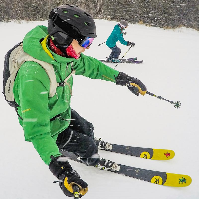 Downhill skiers at Lutsen Mountain