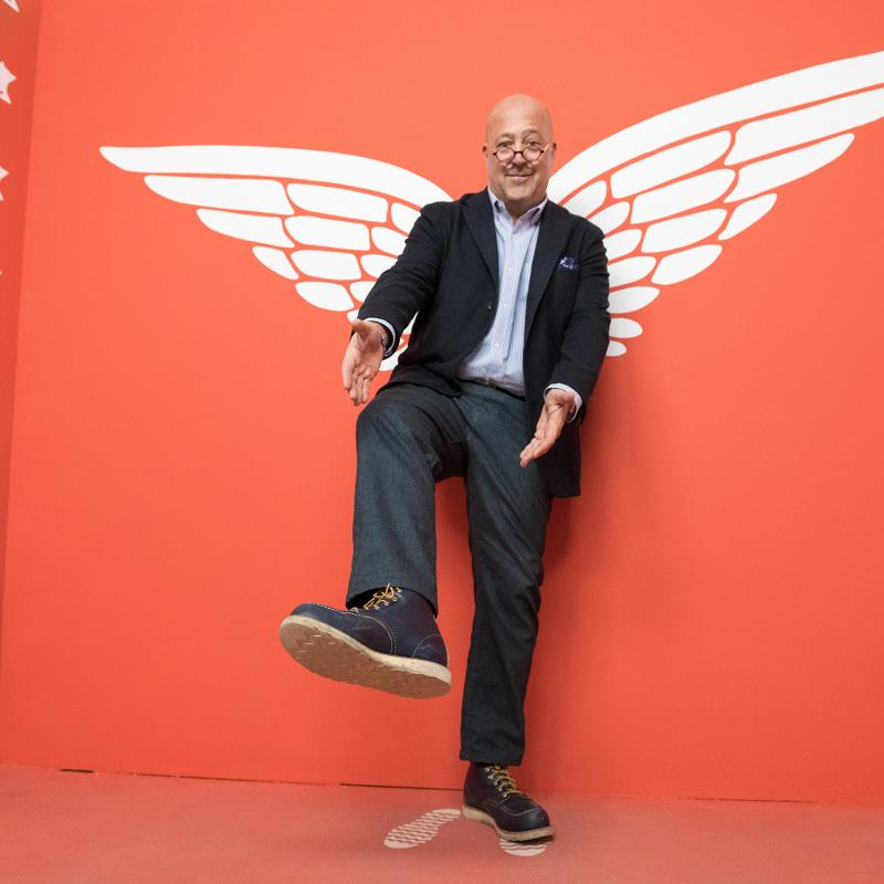 Andrew Zimmern shows off his Red Wing Boots