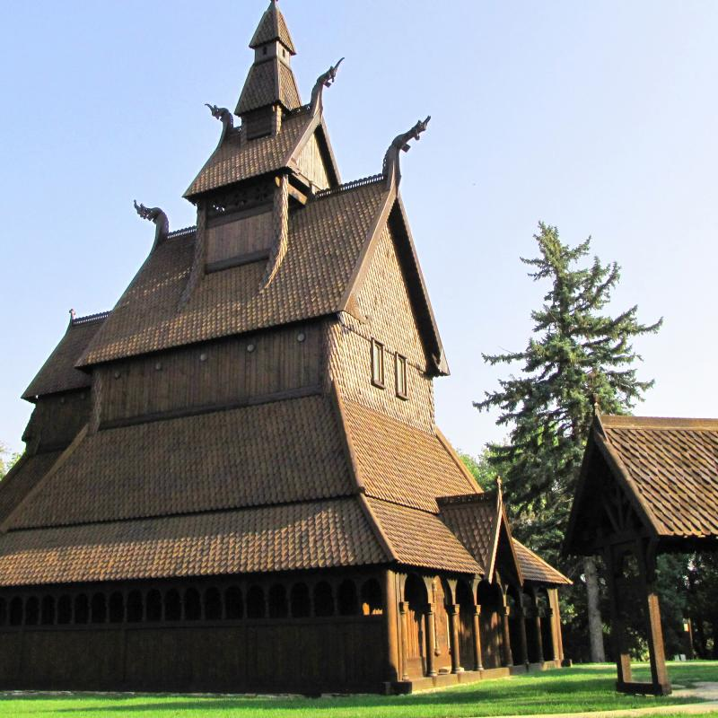 The Hopperstad Stave Church at Moorhead's Hjemkomst Museum