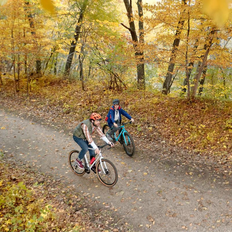 Father and son fall biking at Afton State Park