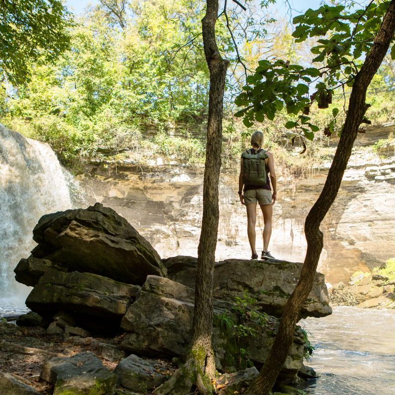 Woman at the Minneopa State Park waterfall