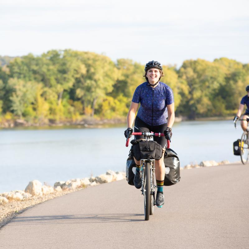 Two women bike touring on the Mississippi River Trail